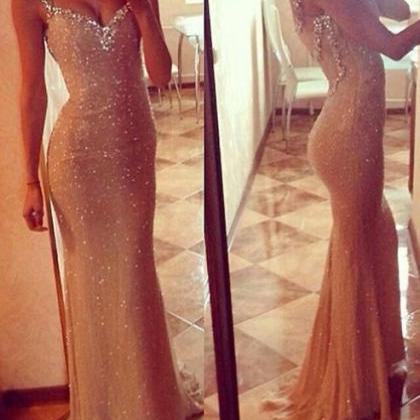 Gold Mermaid Prom Dress, Sequin Pro..
