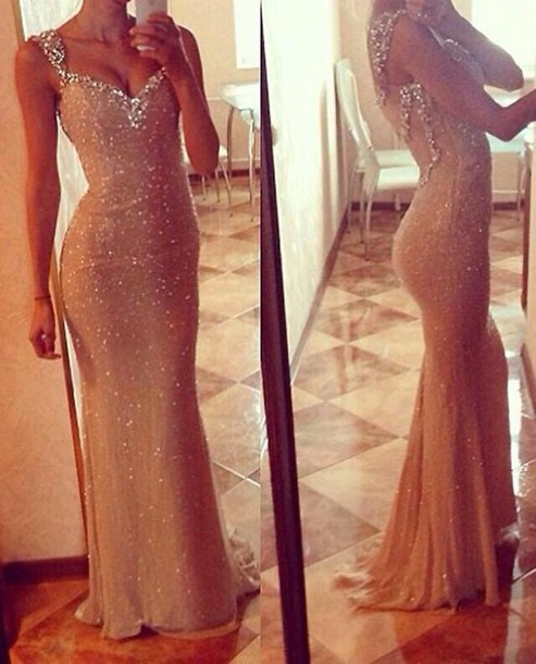 Gold Mermaid Prom Dress, Sequin Prom Dress, Long Prom Dress, See Through Prom Dress, Elegant Prom Dress, Unique Prom Dress, PD0003