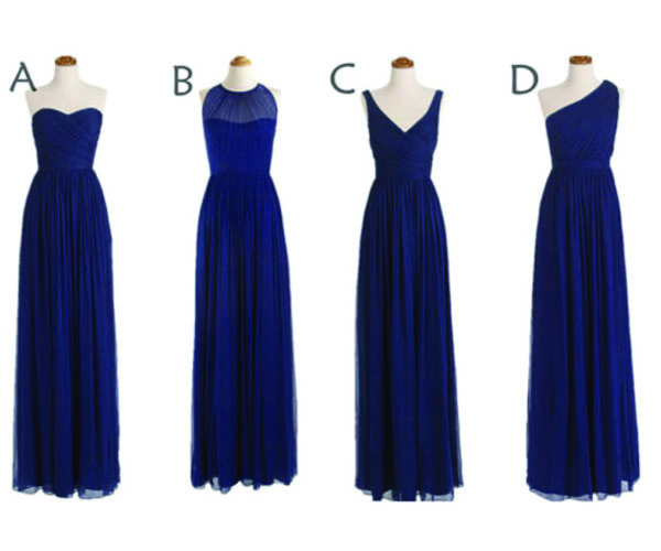 Long Bridesmaid Dress, Navy blue Bridesmaid Dresses, Mismatched Bridesmaid Dress, Unique Bridesmaid Dress, PD0006
