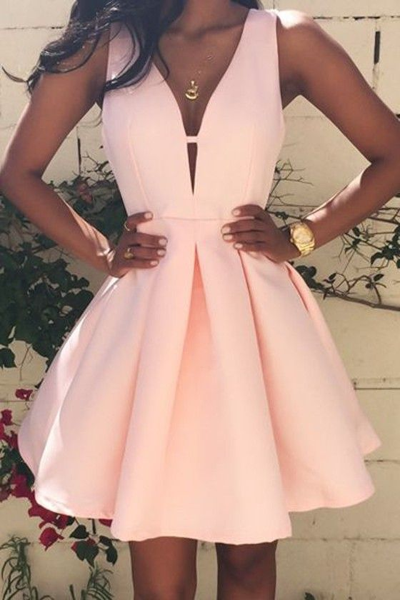 8c9dcc63e8f Pink Short Homecoming Dress with Plunge V Sleeveless Bodice and Pleated  Skirt - Evening
