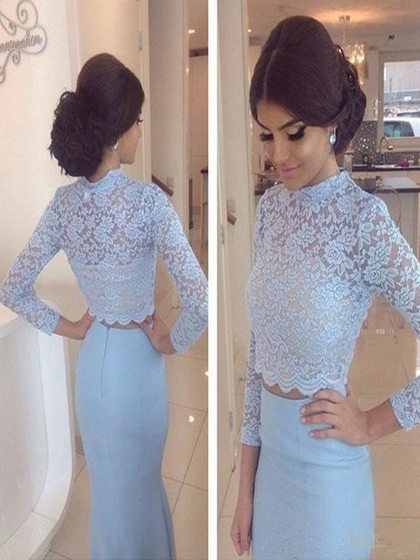 Custom Made Light Blue Two-Piece Long Sleeve Prom Dress, Bridesmaid Dress