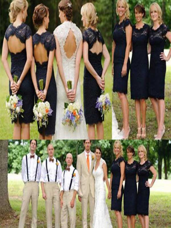 Short Bridesmaid Dressnavy Blue Bridesmaid Dresseslace Bridesmaid Dresses Short Sleeve Bridesmaid Dress Open Back Bridesmaid Dresswedding Party