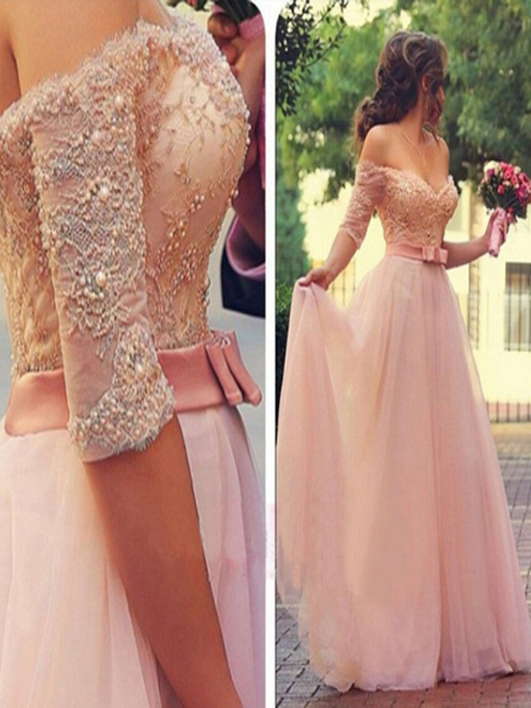 8ff363f6b2 Long Custom Prom Dress,Pink Half Sleeve prom dress, Off shoulder prom dress,  V-neck prom dress, A-line Formal prom dress, Dress for prom, Lace prom dress,  ...
