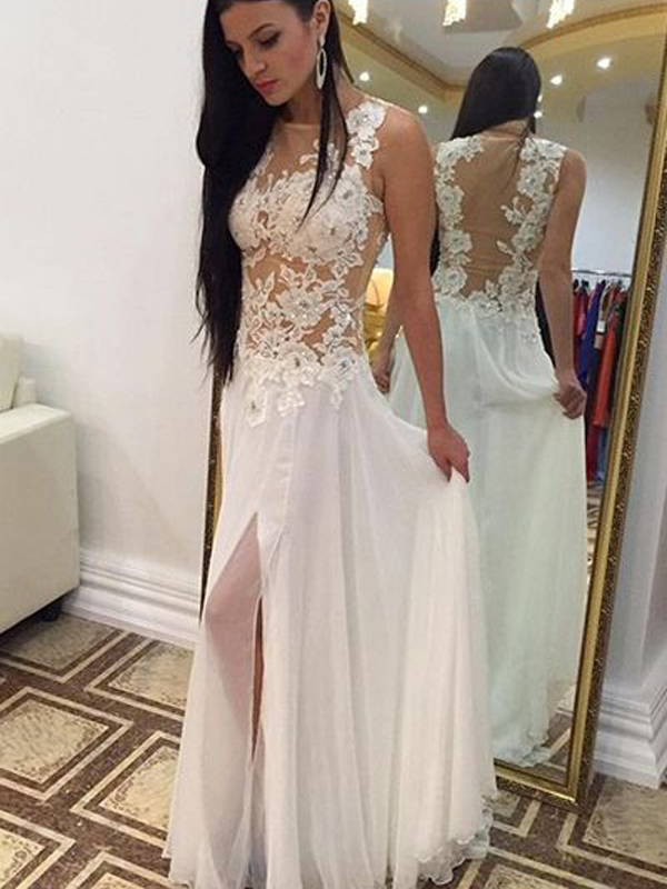 Long Custom Prom Dress,White Chiffon Prom Dress, Prom Dress With ...