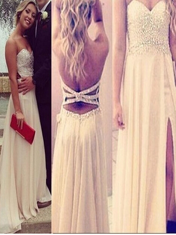 Long Custom Prom Dress Beige Beading Long Prom Dresses Straps
