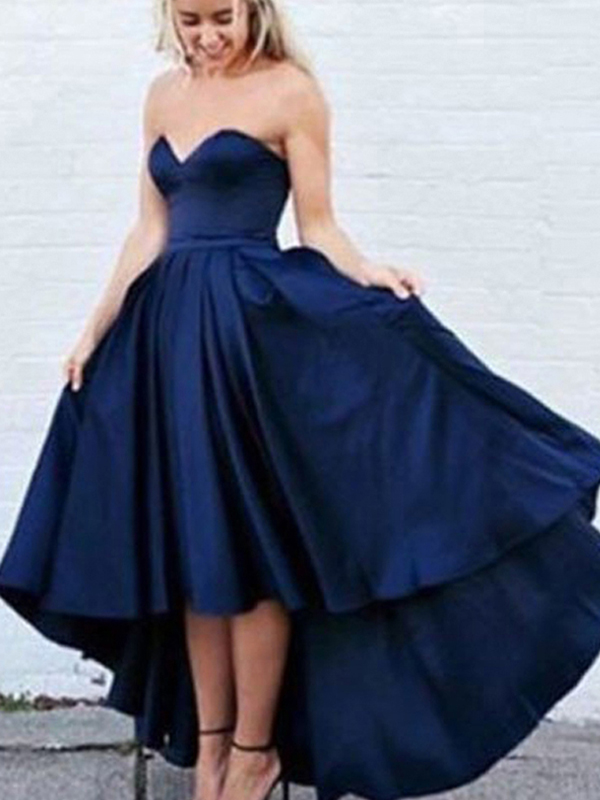 2824818dc Long Custom prom dress, Simple Sweetheart Sleeveless High-Low Navy Blue Prom  Dress with