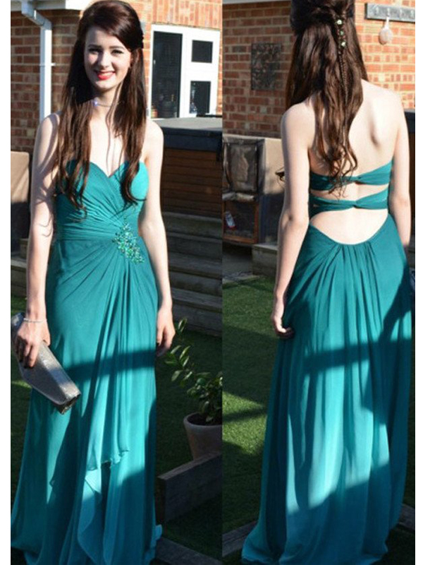 Long Custom prom dress, Blue prom dress, Open Back prom dress, Sweetheart prom dress, Chiffon prom dress, Evening Party Gowns, Elegant Prom Dresses. PD0121112