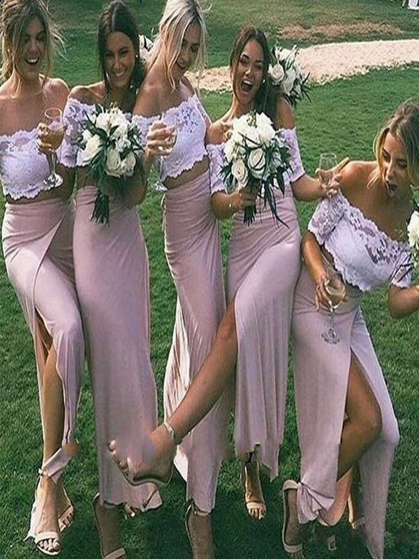 Off The Shoulder Bridesmaid Dress, White Lace Pink Bridesmaid Dress, Split Side Bridesmaid Dress, Sheath Bridesmaid Dress, Short Cap Sleeve Long Bridesmaid Dress, Cheap Wedding Party Dress, 2017 Country Bridesmaid Dress Plus Size, Cheap bridesmaid dress. .PD0101078