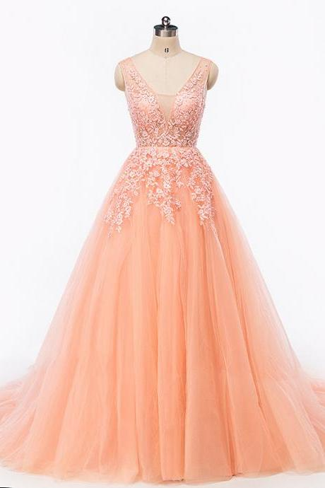 Lace Prom Dress,Blush Pink Prom Dress,Gorgeous Pearl Prom Dress,Charming Prom Dress,Backless Prom Dress, Pretty Lace Up Back Dress,Ball Gown Prom Dress,PD1708