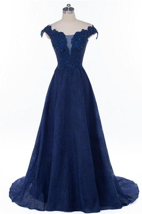 Lace Prom Dress,Royal Blue Prom Dress,Sparkly Prom Dress,Cap Sleeve Prom Dress,Evening Party Dress,Long A-line Prom Dresses,Formal Prom Dresses, PD1710