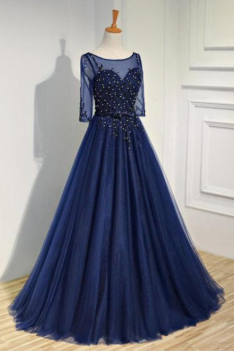 Half Sleeve Prom Dress,Royal Blue Prom Dress,Sparkly Rhinestone Prom Dress,Evening Party Dress,Charming Prom Dresses,Formal Prom Dresses, PD1712
