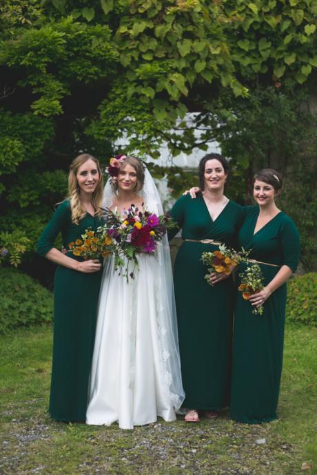 Custom Made Teal Green Modest Long Bridesmaid Dress