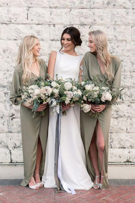 Chiffon Bridesmaid Dresses,Olive green bridesmaid dresses,Bridesmaid dresses with sleeves,Bridesmaid dresses with slits, Cheap bridesmaid dresses. BD00003