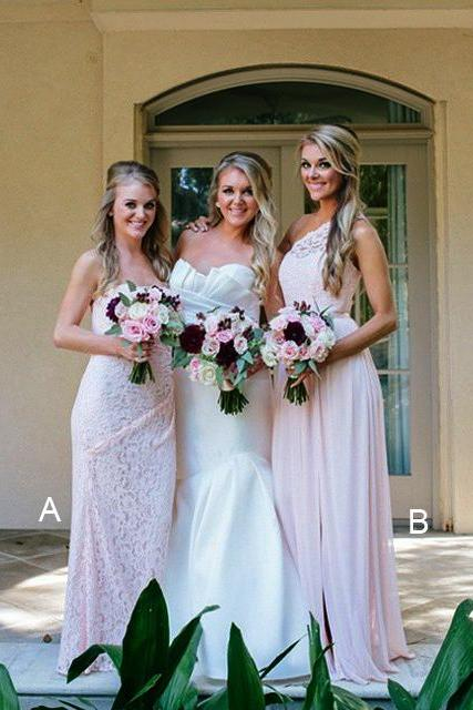 Mismatched Bridesmaid Dresses,Pink bridesmaid dresses,Lace bridesmaid dresses,One shoulder bridesmaid dresses,Strapless bridesmaid dresses. BD00005