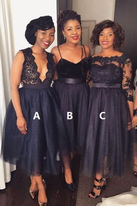 Mismatched Bridesmaid Dresses,Lace bridesmaid dresses,Tea length bridesmaid dresses,A-line bridesmaid dresses. BD00007