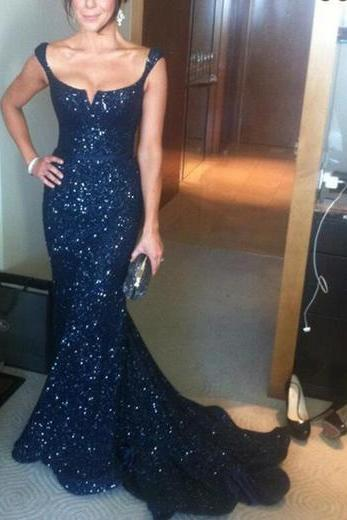 Long Prom Dress,Sequin Prom Dress, Mermaid Prom Dress,Navy Prom Dress,Sparkly Prom Dress,Sexy Prom Dress, PD0074