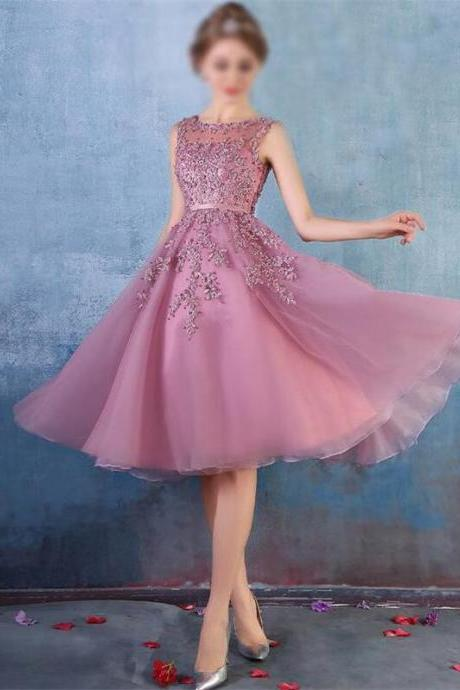 Short Homecoming Dress,Custom Homecoming Dresses,applique Homecoming Dress,elegant Homecoming Dress,mauve Homecoming Dress,sleeveless Homecoming Dress, junior Homecoming Dress PD0086