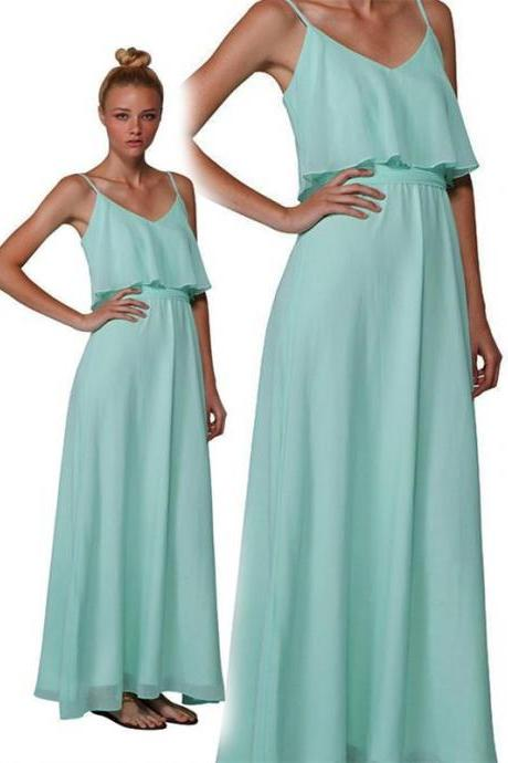 Long Bridesmaid Dress, spaghetti strap Bridesmaid Dresses, mint green Bridesmaid Dress, wedding party dress,chiffon Bridesmaid Dress,custom bridesmaid dress,PD0027