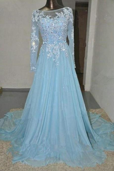 Long sparkly Prom Dress,custom Prom Dress, long sleeve Prom Dress, elegant Prom Dress, junior prom dress,light blue prom dress,round neck prom dress,beads prom dress,hot sale prom dressPD0032
