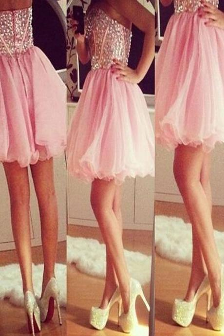 Short Homecoming Dress,pink homecoming dress,sparkly homecoming dress,strapless homecoming dress,mini homecoming dress,sweetheart homecoming dress,graduation dress,homecoming dress for teens,cheap homecoming dressPD008185
