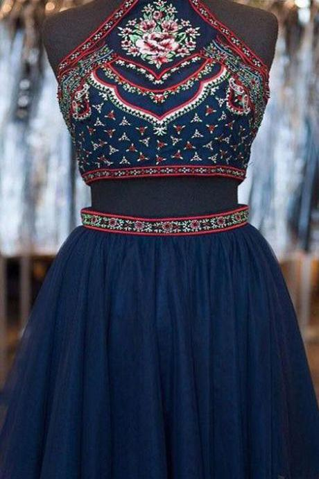 Short Homecoming Dress,blue homecoming dress,vintage homecoming dress,two pieces homecoming dress,halter homecoming dress,hand made homecoming dress,unique style homecoming dress,PD0081213