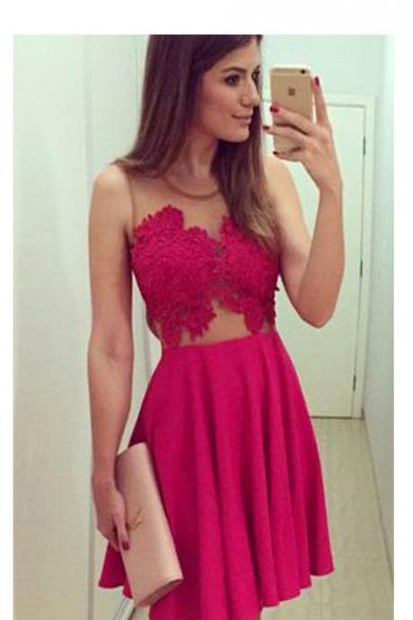 Short Homecoming Dress,blush red homecoming dress,see through dress,homecoming dress with lace,simple homecoming dress,freshman dress,cheap homecoming dress,formal dressPD008342