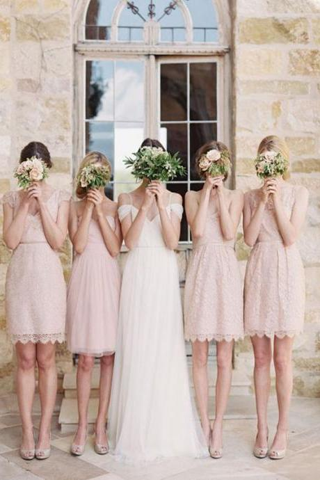 Short Bridesmaid Dress, Pink Lace Bridesmaid Dress, Open back bridesmaid dress, Knee Length bridesmaid dress, Simple bridesmaid dress, Rustic bridesmaid dress,dress for wedding party. PD008371