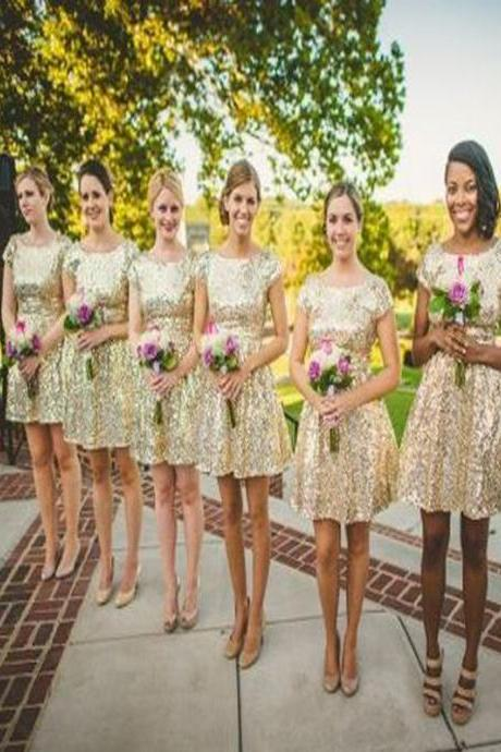 Short Bridesmaid Dress,Sequined bridesmaid dress, Bridesmaid dress with short sleeve, Shining bridesmaid dress, Sparkly bridesmaid dress, Cheap bridesmaid dress,dress for wedding party. PD0080501