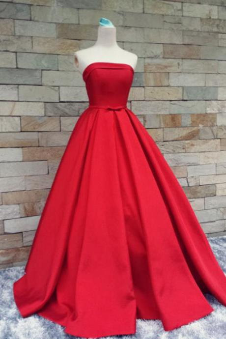 Long Custom Prom Dress,Red Prom Dresses,Simple Prom Dress,Sexy Prom Dress,Cheap Prom Dresses,2017 Formal Gown,Satin Evening Gowns,Strapless prom dress, Ball Gown Party Dress, Prom Gown For Teens. PD01237