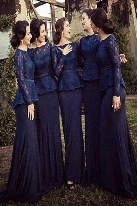 Long Bridesmaid Dress,Long Sleeve Navy Blue Bridesmaid dress, Bridesmaid dress with lace, Mismatched bridesmaid dress, Wedding party dress, Simple Elegant bridesmaid dress, Winter bridesmaid dress, Cheap bridesmaid dress. .PD0101