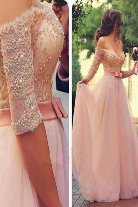 Long Custom Prom Dress,Pink Half Sleeve prom dress, Off shoulder prom dress, V-neck prom dress, A-line Formal prom dress, Dress for prom, Lace prom dress, Ball Gown dress 2017. PD01263