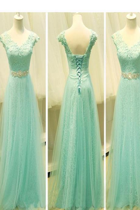 Long Custom Prom Dress,Mint Lace prom dress, Cap sleeve prom dress, Lovely prom dress, Elegant prom dress, Prom dress for teens, Prom dress online. . PD01268