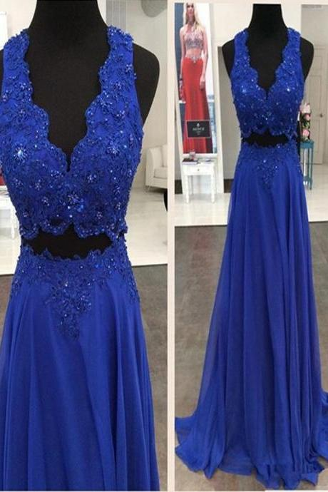 Long Custom Prom Dress, Royal blue prom dress, Two pieces prom dress, Beading prom dress, Elegant prom dress, Prom dress for teens, 2017 Prom gown, Party dress. PD012285