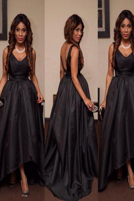Long Custom Prom Dress,Black Simple prom dress, High Low prom dress, Open Back prom dress, Ball Gown dress, Dress for prom, 2107 Evening Party dress, Unique Style prom dress. PD01290