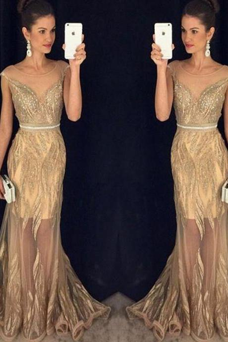 Long Gold prom dress, Modest Prom Dresses,Sexy New Prom Dress,Sleeveless New Beading Sexy Mermaid Sweep Train Scoop Prom Dresses, See Through prom dress, Junior prom dresses. PD02303