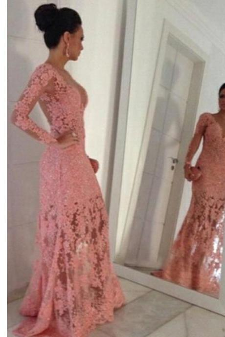 Long Sleeve Prom Dress, Prom dress with lace, Peach pink prom dress, Appliques prom dress, Floor Length prom dress, Custom prom dress, Charming prom dress,. PD02302