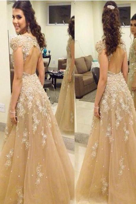 Long Custom Prom Dress,Champagne prom dress ,Evening Party dress, Cap sleeve prom dress, Open back prom dress, Prom Gown 2017, Prom dress for young girls, Sparkly dress. PD0085