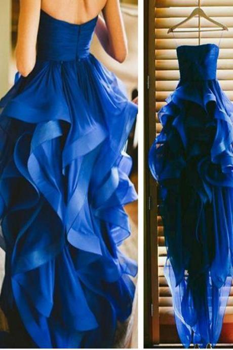 Long Custom Prom Dress, Luxury Blue prom dress, Strapless High Low prom dress, Graduation dress, Formal dress for teens, Evening party dress. PD0087
