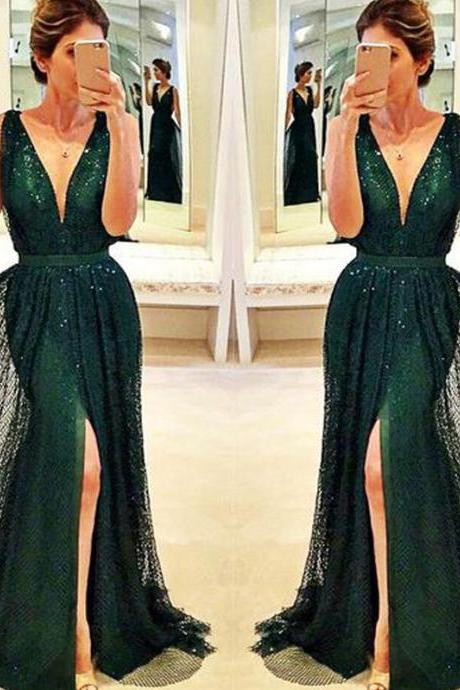 New Prom dresses, Long custom prom dresses, Dark-Green prom dress, Front-Split prom dress, Sexy prom dress,Evening prom gown,Formal dresses. PD01266