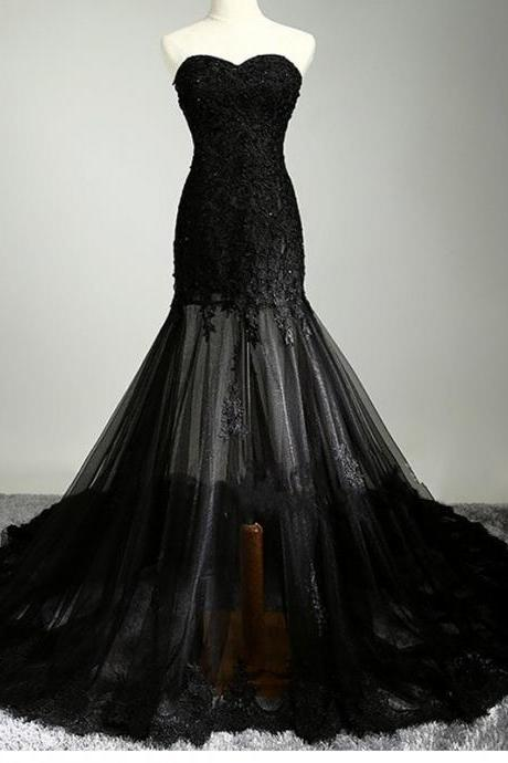 2017 Prom dresses, Mermaid Long Strapless Prom Dresses,Black Lace Prom Gowns,Charming Evening Dresses,Formal Party Dresses. PD01270