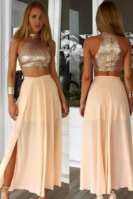 Simple Two Pieces Prom Dresses For Teens,Champagne Chiffon Prom Gowns,Women Dresses,Handmade Evening Gowns,Party Prom Dresses. PD01256