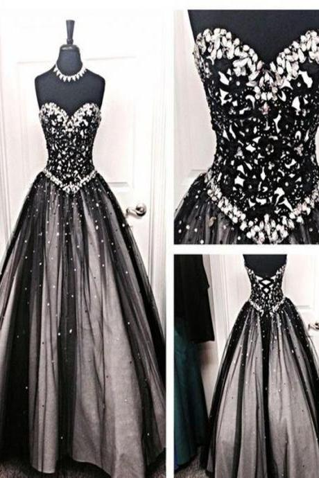 Long Custom Prom Dress,Black prom dress, Sweetheart prom dress, Ball Gowns, Rhinestones prom dress, Evening party dress, Formal dresses. PD01278