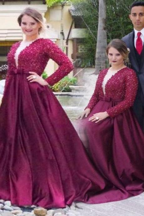 Long Custom prom dress, Burgundy Prom dress, Prom dress with long sleeves, Plush size prom dress, Sweep Train prom dress, Beading prom dress. PD0121051