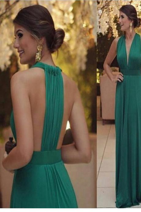 Long Custom prom dress, Green Chiffon Prom dress, Deep-V-Neck Sleeveless A-Line Green Sexy Ruffles Prom Dress. PD0121069