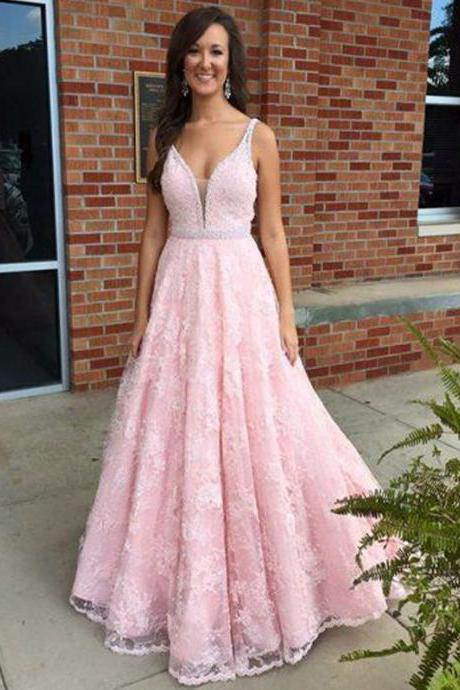 Lace Prom Dress,Beading Prom Dress,Charming Prom Dress,A-Line Evening Dress,Prom Dresses 2017, Pink Lace Prom Gowns. PD0121139