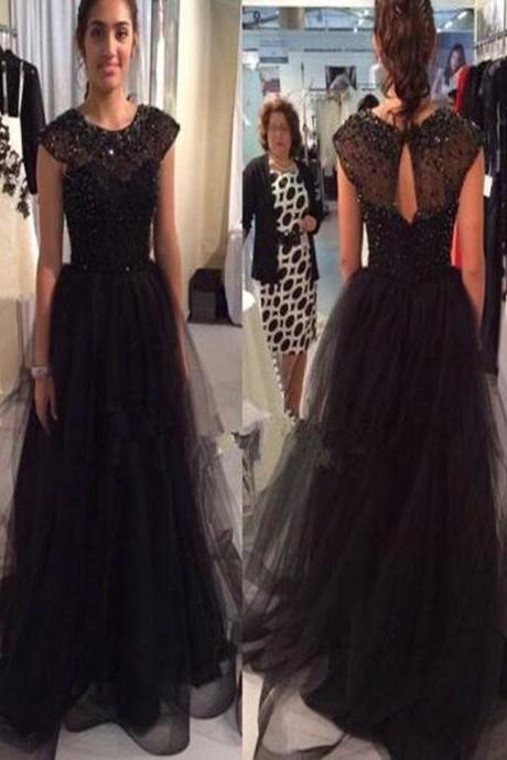 O-Neck Beading Tulle Prom Dresses,Long Prom Dresses,Cheap Prom Dresses, Evening Dress Prom Gowns, Formal Women Dress,Prom Dress, Party Dresses For curvy girls,.Prom Dresses. PD012193