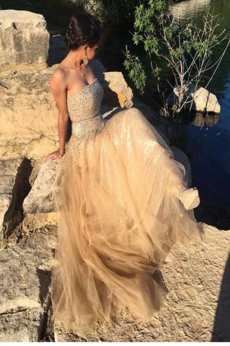 New Arrival Sexy Prom Dress,Strapless Prom Dress, Champagne prom dress, Beaded prom dress, Prom Dress Ball Gown, Charming prom dress, Vintage prom dress, Prom Dresses. PD015076