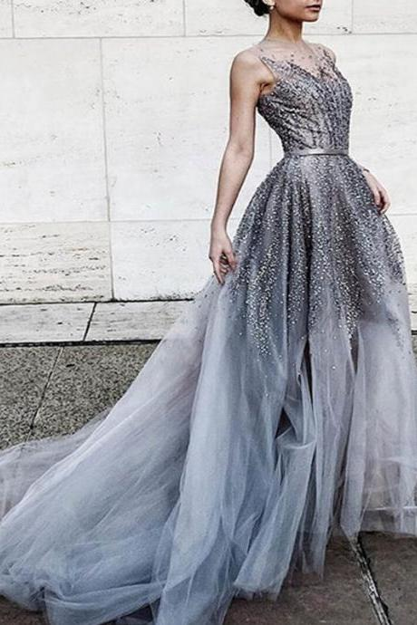 Long Prom Dress,Prom Dress Ball Gown, Beaded Prom Dress, Sparkly Prom Dress, Charming Prom Dress, Junior Prom Dress, 2017 prom dress, Prom Dresses. PD015079