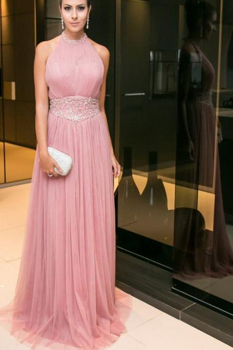 Dusty Pink Prom Dress,Aline Prom Dress,Hater prom dress, Elegant prom dress, Charming Prom Dress,beauty prom dress,Dress For Evening Party,Prom Dresses. PD01703
