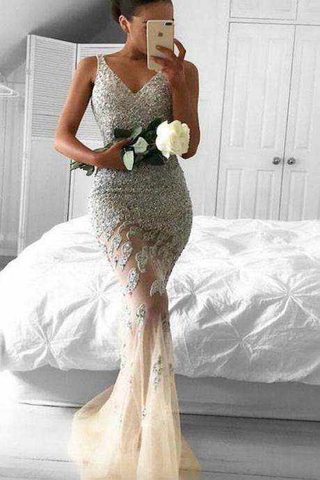Sparkly Prom Dress,Beaded Prom dress, Mermaid prom Dress,Sexy Prom Dress,Glitter prom dress, V-Neck Prom Dress, Charming pretty Dress,Formal Dress,prom Dress,PD1704